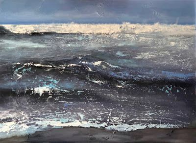 """Abstract Seascape Painting """"Manhattan Beach Surf"""" by California Artist Cecelia Catherine Rappaport"""