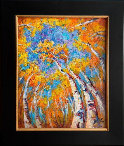 "New ""Reaching to Heaven"" Fall Aspen Impasto Painting by Niki Gulley"