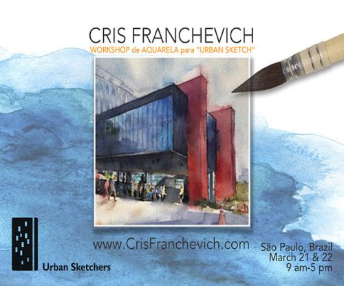 USK Workshop: The art of Watercolor for Urban Sketching - Sao Paulo