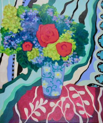 """Contemporary Abstract Still Life Art Painting """"ROSES AND LILACS """" by Santa Fe Artist Annie O'Brien Gonzales"""
