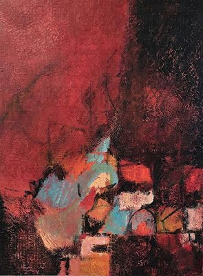 """Red Art, Contemporary Painting, Expressionism, Abstract Art, Mixed Media, """"DESTINED TO ROAM"""" by Portland Contemporary Artist Liz Thoresen"""
