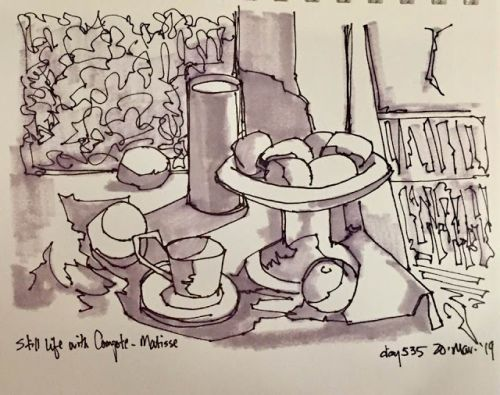 "Day 535 ""Still Light with Compote a la Matisse"" pen, ink, marker"