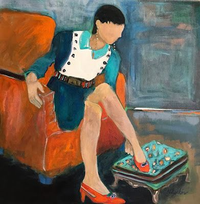 "Contemporary Female Figurative Painting,""Ready For the Day"" by Oklahoma Artist Nancy Junkin"