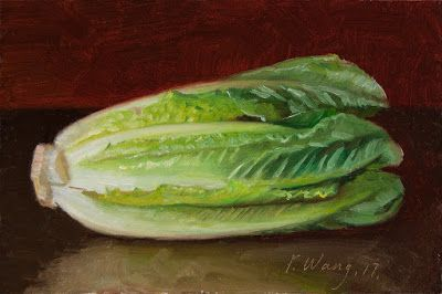 A lettuce still life oil painting original daily painting a day vegetable painting
