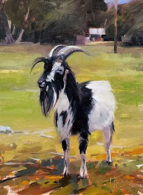 """""""Old Goat"""" Paintings from quarantine by Robin Weiss"""