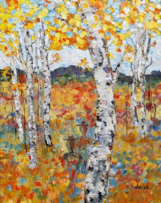 "Original Palette Knife Aspen Landscape Painting ""Wandering Spirit of Golden Meadow"" by Colorado Impressionist Judith Babcock"