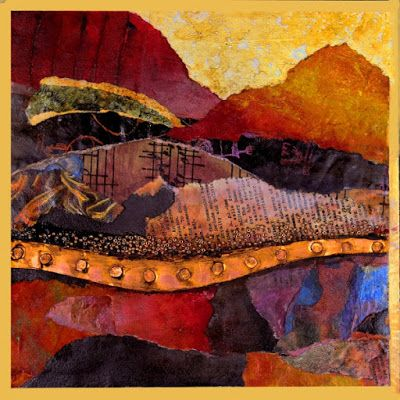 """Mixed Media Abstract Landscape Collage, """"Singing Hills"""" by Carol Nelson Fine Art"""