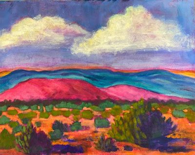 """Contemporary Expressionist Landscape Art Painting """"Ghost Ranch Foothills"""" by Santa Fe Artist Annie O'Brien Gonzales"""