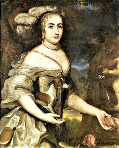 1650 Allegory of Diana Goddess of the Hunt with tiny, faithful Dog