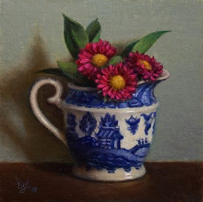 """Creamer and Mums"" Oil on 6x6 inch linen board"
