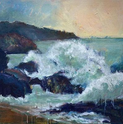 "Seascape Painting, Contemporary Seascape,Coastal Art, Beach Painting For Sale ""CHANGING CURRENTS"" by Contemporary Artist Liz Thoresen"