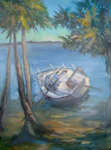 Yesterday's News, Coastal Landscape, Florida Painting, Small Oil Painting, Daily Painting