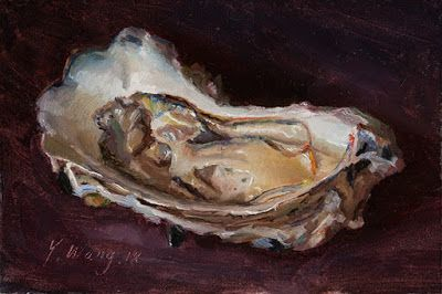 Oyster painting original daily painting a day still life contemporary realism small work of art