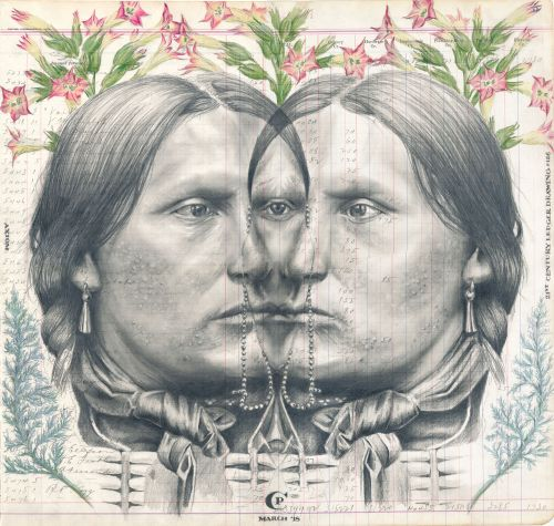 Subversively Elegant Portraits of Indigenous People Drawn on Repurposed Ledgers by Artist Chris Pappan