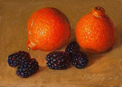 Blackberries tangelo orange fruit still life painting a day
