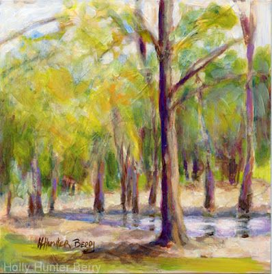 "Small Paintings, Colorful Contemporary Landscape Painting,Trees, Water Daily Painter, ""Place of Rest"" by Passionate Purposeful Painter Holly Hunter Berry"
