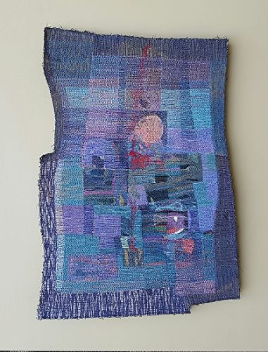 "Mixed Media, Contemporary Fiber Art ""MANY MOONS"" by Contemporary Artist Gerri Calpin"