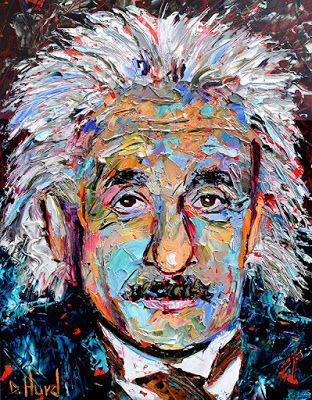 "Abstract Portrait, Albert Einstein,Oil Painting, Music, ""Theory of Relativity"" by Texas Artist Debra Hurd"
