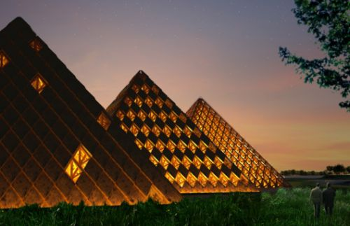 Shigeru Ban Designs Triad of Timber Pyramids for Kentucky Owl Park