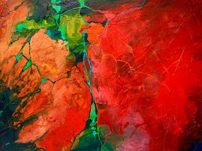 """Red Art, Geologic Abstract, Contemporary Mixed Media Painting """"Show Me"""" by Colorado Mixed Media Abstract Artist Carol Nelson"""