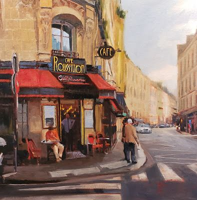 """""""Cafe Roussillion"""" Paris oil painting by Robin Weiss"""