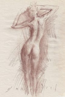 Standing female nude backside in motion