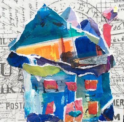 "Summer Sale, Paper House Painting, Textural Collage, Small Painting, Mixed Media ""PAPER HOUSE"