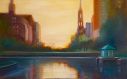 """Contemporary Landscape Painting, City Scene,Water """"Boston Sunset"""" by California Artist Cecelia Catherine Rappaport"""