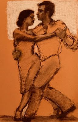 Tango in Gold - original figurative charcoal drawing