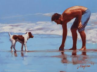 """Coaching"" - Series Painting of Dogs & Owners on the Beach"
