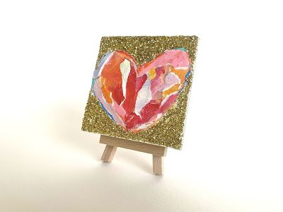 "Abstract Heart Painting """"Paper and Glitter Heart"" by Contemporary Expressionist Pamela Fowler Lordi"