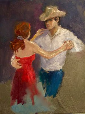 Two-Stepper Sketch - original oil figurative sketch of dancers