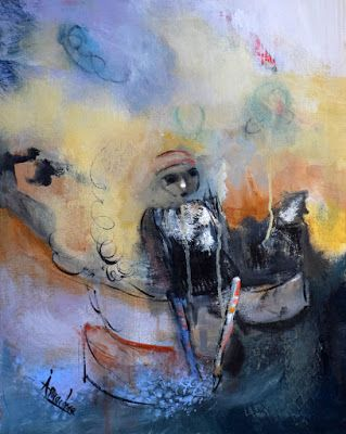 "Contemporary Abstract Expressionist Painting, Abstract Figure ""Tea Time Parodox"