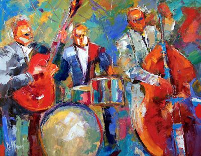 "Colorful Jazz Art Music Fine Art Print, Blues ""Guitar, Bass and Drums"