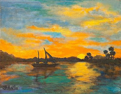 "Sunset, Seascape, Sailboat Oil Painting ""Evening Glow"" by Florida Impressionism Artist Annie St Martin"