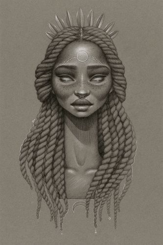 Monochromatic Illustrations Personify the Power of the Sun and Moon through Fictional Deities