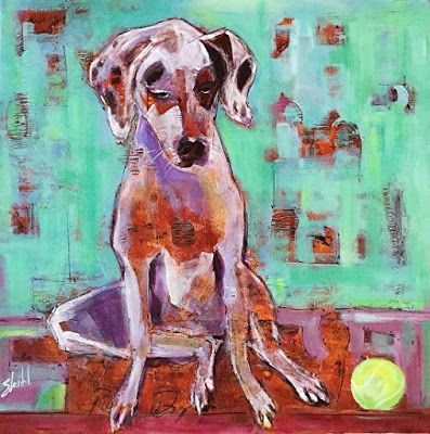 "Pet Portrait, Dog Painting,Contemporary Fine Art ""TALI THE PUP"" by Artist Carolyn Zbavitel"