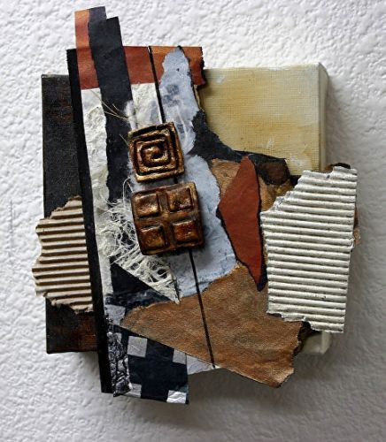 """Mixed Media Abstract Collage """"Inheritance"""" by Carol Nelson Fine Art"""