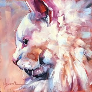 ORIGINAL CONTEMPORARY WHITE CAT on Panel in OILS by OLGA WAGNER