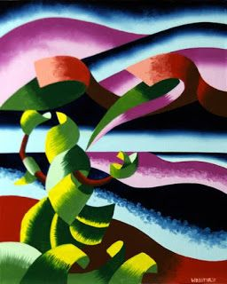 Mark Webster - The Rose Bush Hails the Last Taxi - Abstract Midnight Lake Landscape Oil Painting 2