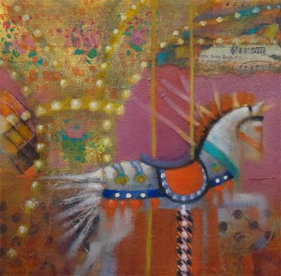 """Contemporary Colorful Painting """"Horse & Carousel Abstract 6"""" by Illinois Artist Marilyn Weisberg"""