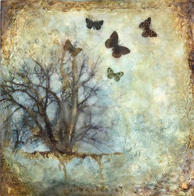 """The Circle of Life"", Original Mixed Media/Encaustic Painting by Colorado Artist, Donna L. Martin"