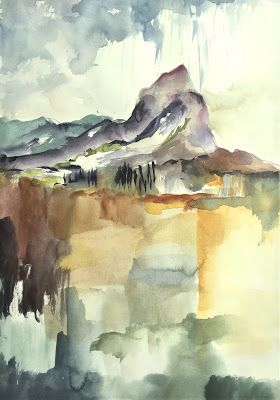 "Watercolor abstract/landscape ""Man in the Mountain"" Hawaii Artist, Arlene G. Woo"