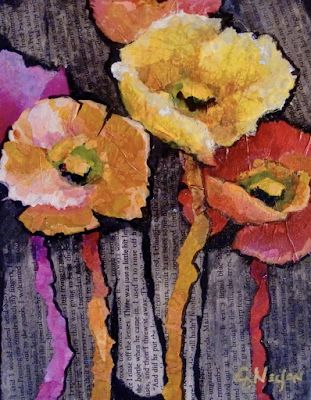 "Abstract Floral Fine Art Print ""Spring Has Sprung"" by Colorado Mixed Media Artist Carol Nelson"
