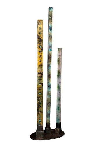 "Fine Art Free Standing Vertical Sculpture Resin, Steel Cast Acrylic ""Time"" by Santa Fe Artist Sandra Duran Wilson"