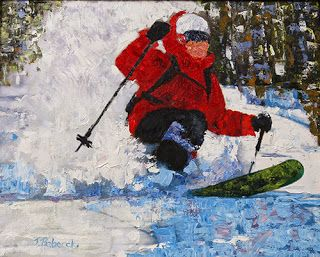 "Skier, Ski Painting, Winter Landscape,Snow ""Perfect Day"" By Colorado Impressionist Judith Babcock"