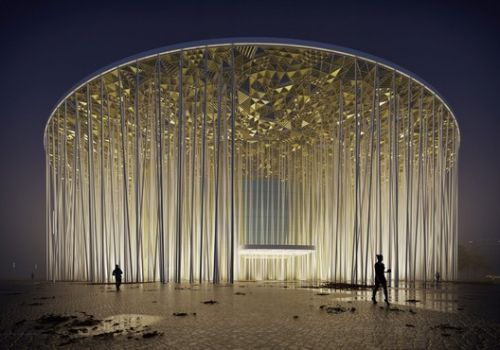 Steven Chilton Architects Builds a Forest of White Columns Around Wuxi Taihu Show Theater