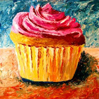 Mark Webster - Cupcake Painting - Acrylic Palette Knife Painting