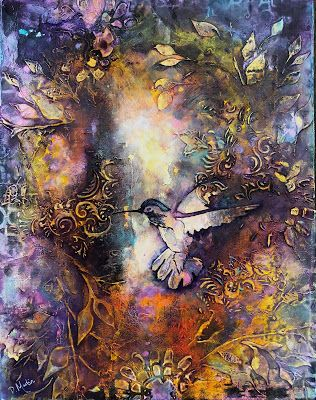 """Surrender"", Original Mixed Media Abstract Painting by Colorado Artist, Donna L. Martin"