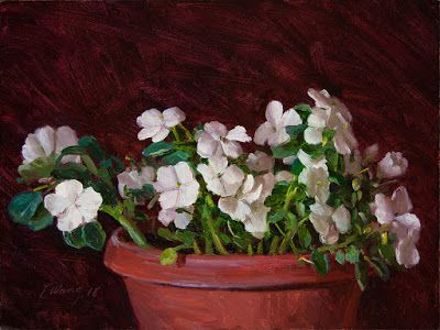 Impatiens flower still life flora original oil painting contemporary realism